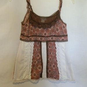 Charlotte Russe Brown Print Top Size L